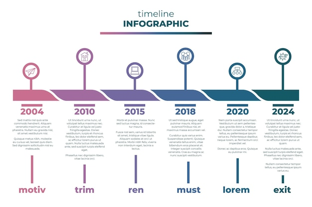 Плоский дизайн временной шкалы инфографики