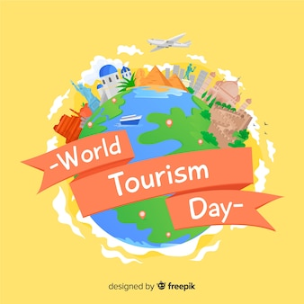Flat design tourism day background