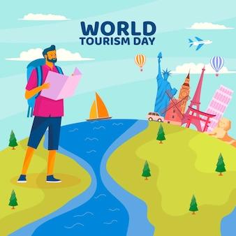 Flat design tourism day concept