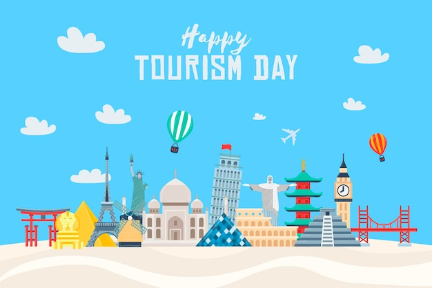 Flat design tourism day illustration with different landmarks