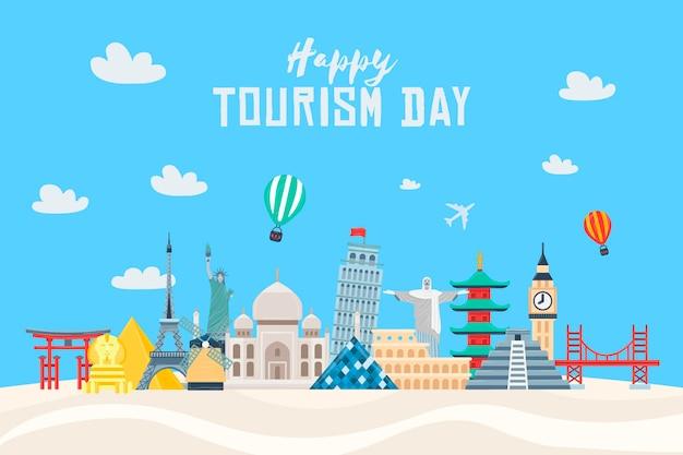 Плоский дизайн иллюстрации дня туризма с различными достопримечательностями