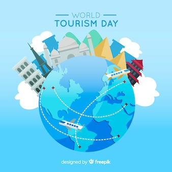 Flat design tourism day with landmarks