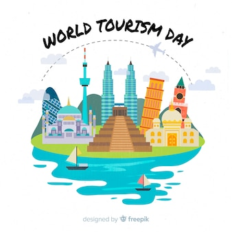 Flat design tourism day with landmarks
