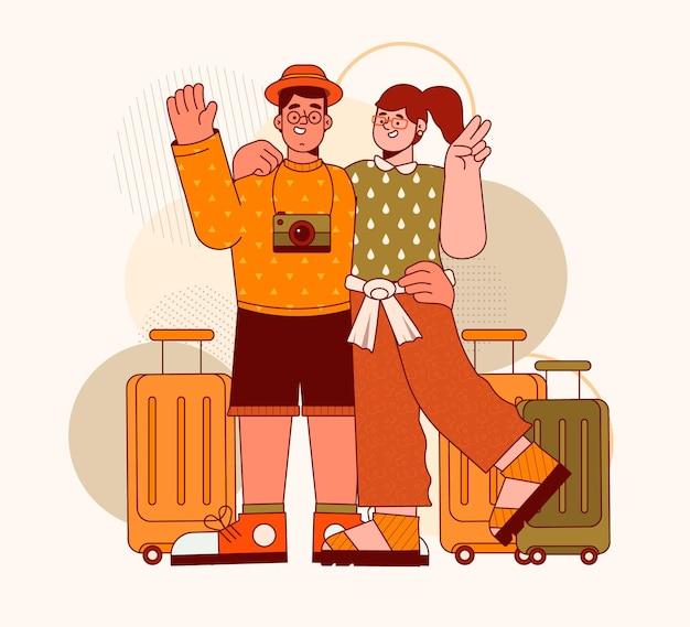手荷物を持つフラットなデザインの観光客