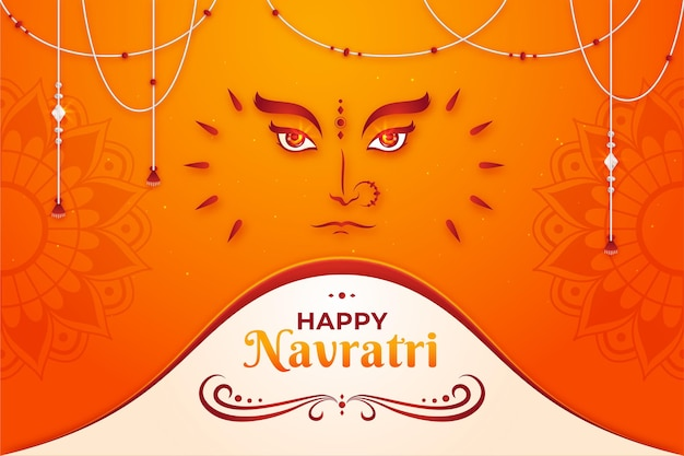 Flat design traditional background for navratri
