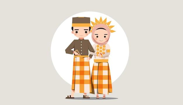 フラットデザインの伝統的な服インドネシア南スラウェシのウェディングドレス無料ベクトル