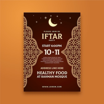Flat design traditional iftar party invitation