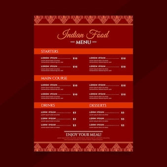 Flat design traditional indian restaurant menu template Premium Vector