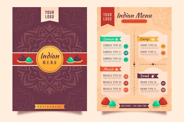フラットデザインの伝統的なインド料理レストランメニューテンプレート