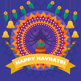 Flat design traditional navratri background