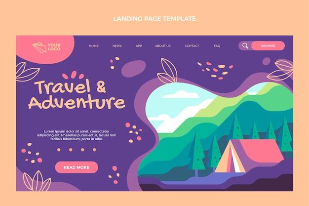 フラットデザインの旅行アドベンチャーのランディングページ