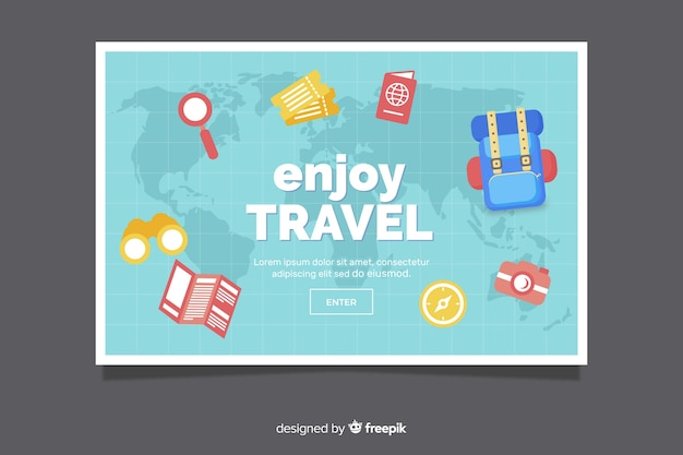 Flat design travel banner template