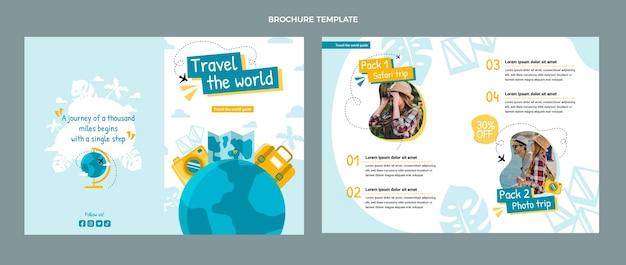 フラットデザインの旅行パンフレットテンプレート