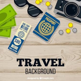 Sfondo di composizione di viaggio di progettazione piatta