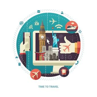 디스플레이에 세계적으로 유명한 랜드 마크와 평면 디자인 여행 구성