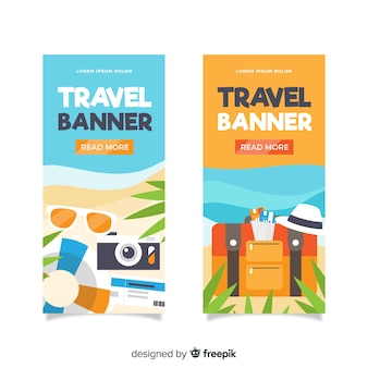 Flat design travel elements banner
