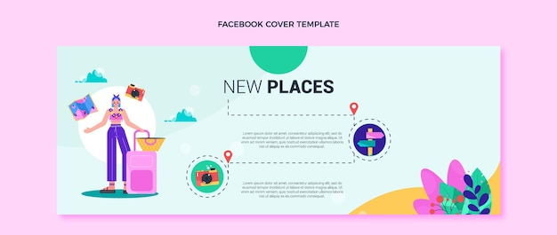 フラットデザイン旅行facebookカバーテンプレート