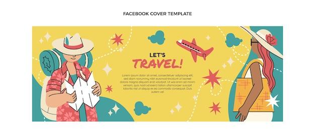평면 디자인 여행 페이스 북 표지 템플릿
