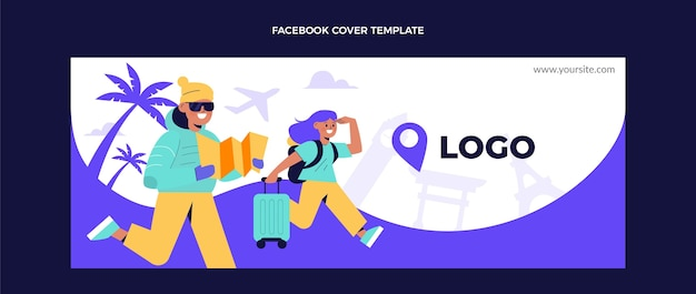 Flat design travel facebook cover template