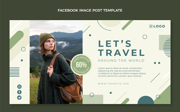 Flat design travel facebook cover with discount