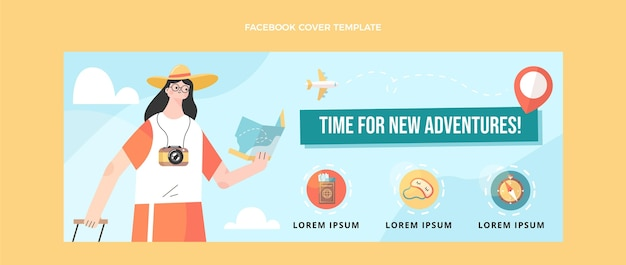 Flat design travel facebook cover with traveler