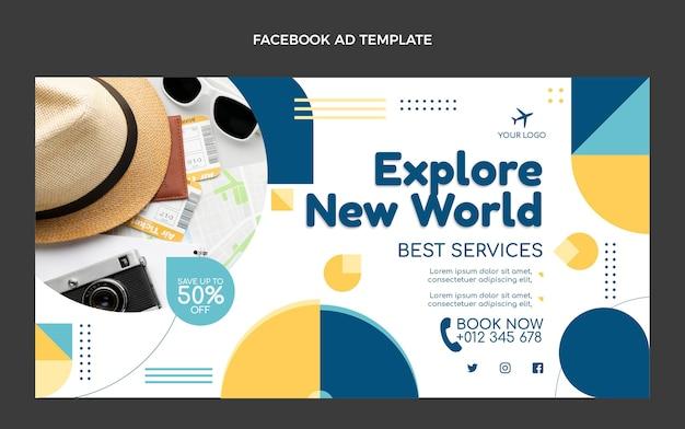 Flat design travel facebook post template
