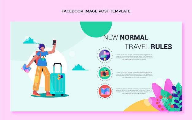 Шаблон сообщения facebook о путешествии в плоском дизайне