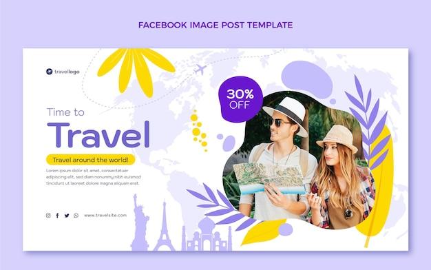 할인이 포함된 평면 디자인 여행 페이스북 게시물