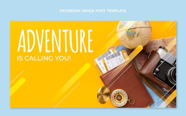 Flat design travel facebook post