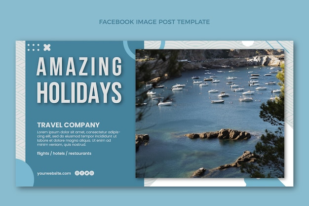 Post di facebook di viaggio design piatto