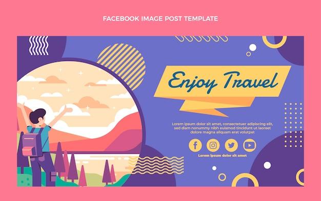 フラットデザインの旅行facebookの投稿