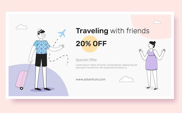 Design piatto del post di facebook di viaggio