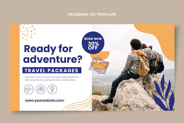 フラットデザイン旅行facebookテンプレート