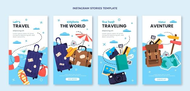 フラットデザインの旅行igストーリー