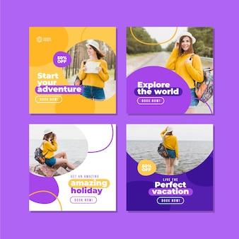 평면 디자인 여행 인스 타 그램 포스트 컬렉션