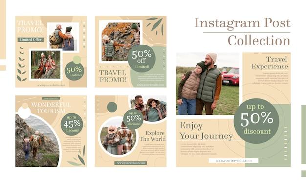 Пакет постов в instagram с плоским дизайном