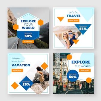 Pacchetto di post di instagram di viaggio design piatto