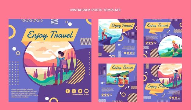 フラットデザインの旅行instagramの投稿