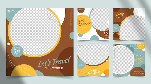 Flat design travel instagram posts