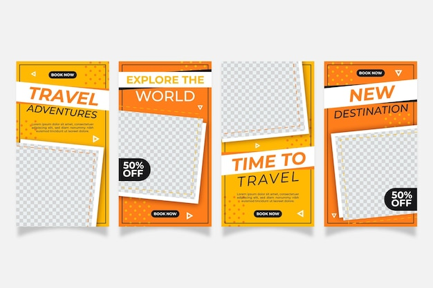 Flat design travel instagram stories