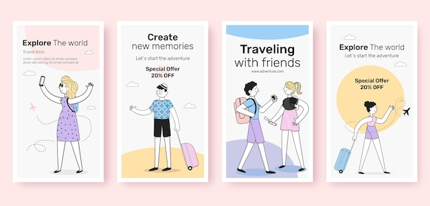 Design piatto di storie di viaggio su instagram