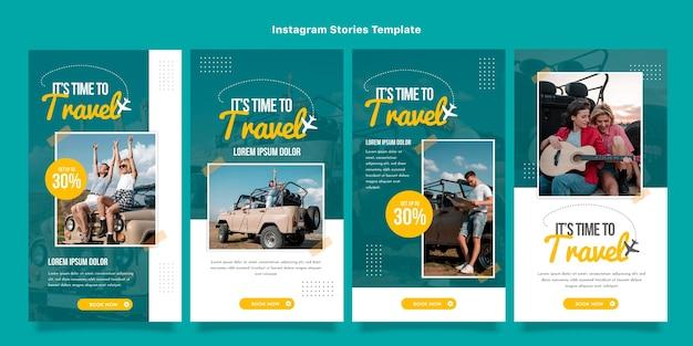Flat design of travel instagram stories