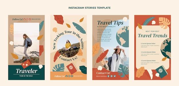 フラットデザインの旅行instagramストーリー