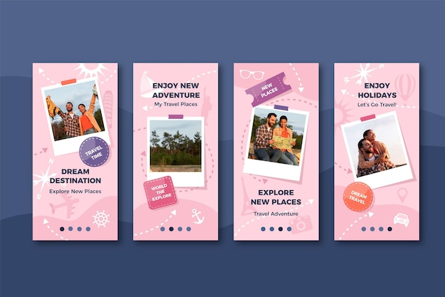 Flat design travel instagram story collection