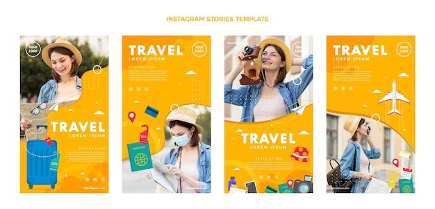 フラットデザインの旅行インスタグラムストーリーコレクション