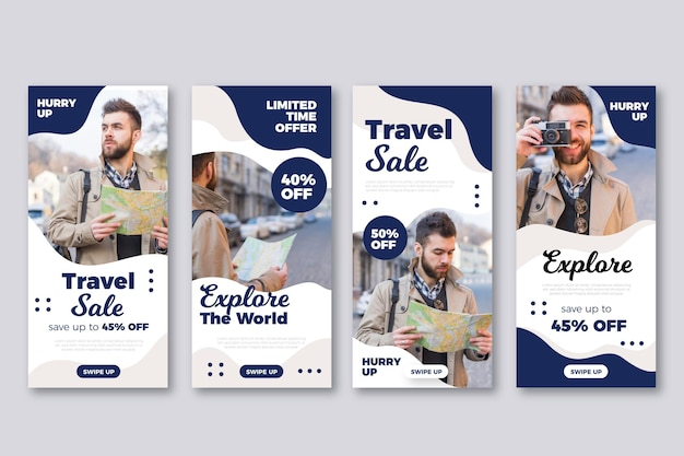 Flat design travel instagram story pack