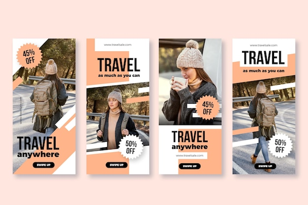 Flat design travel instagram story se