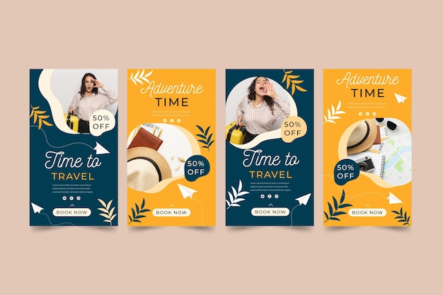 Flat design travel instagram story set