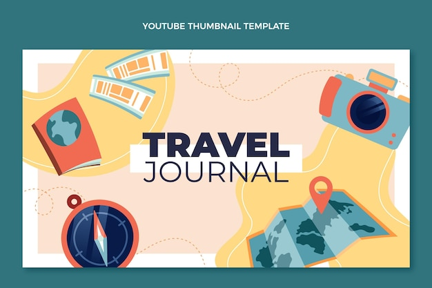 Flat design travel journal youtube thumbnail