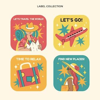 평면 디자인 여행 라벨 컬렉션